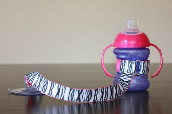 Sippy Cup Leash, Sippy Cup Strap, Baby Bottle Holder, Toddler Gift, Christmas Gift, Mom Hack - Zebra Print