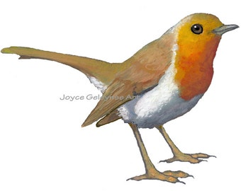 Clip Art: English Robin, Bird, Oil Pastel Art, jpg and gif files included, INSTANT DOWNLOAD
