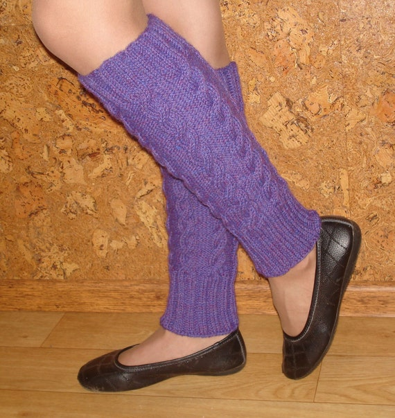Hand Knitted, Purple Leg Warmers with Cables for Women