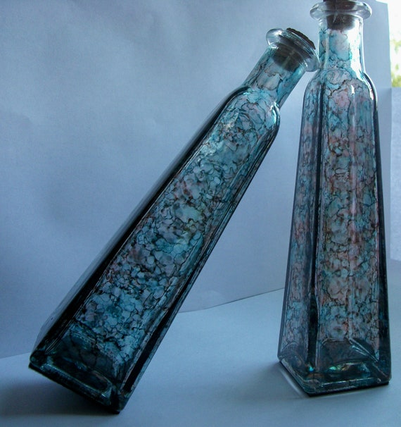 decorative bottles or bud vases hand inked in stunning colors