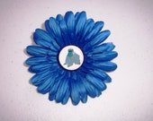 Cookie Monster Inspired Bottlecap Flower Hair Clip on Alligator Clip