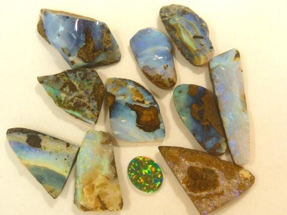 Australian Boulder Opal Free Form.10 pieces. item 40549.