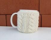 Knitted Ecru Cup Cozy, Mug Cozy, Tea Ecru Cup Cozy, Coffee Cozy