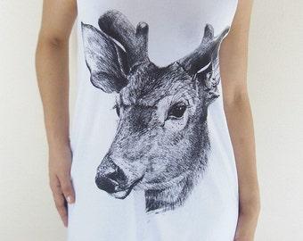 Deer Cute Animal Style Women T-shirt Animal Tunic Tank White T-Shirt Screen Print Size S