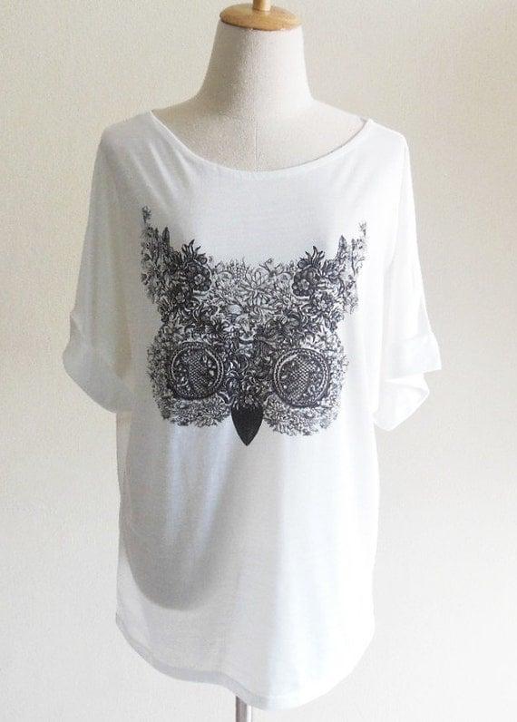 Flowers Owl Cute Animal Style Bat Sleeve Women Shirt White Short Sleeve Oversize Screen Print Free Size