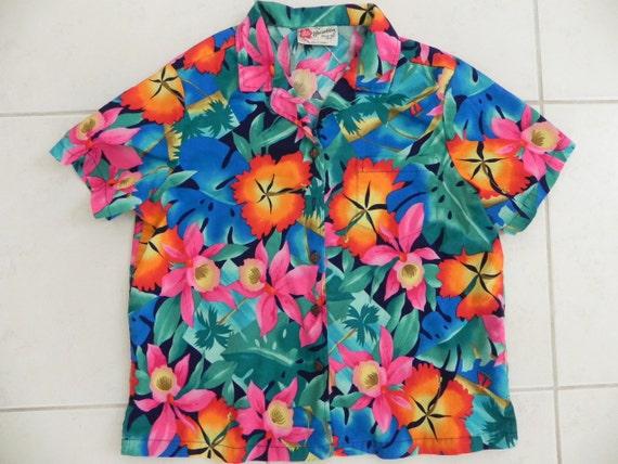 Hilo Hattie Hawaiian Camp Shirt Size Large VINTAGE