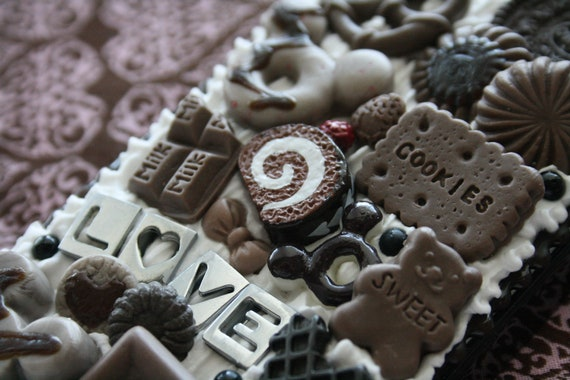 Kawaii Sweet Deco Dark Chocolate Love Black iPhone 4 Case