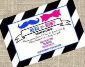 Gender Reveal Party Invitations: Beau or Bow Blue and Pink