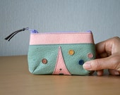 Leather mini pouch, Purse, Upcycled, Paris, La tour Eiffel, Clover, Small zipper pouch