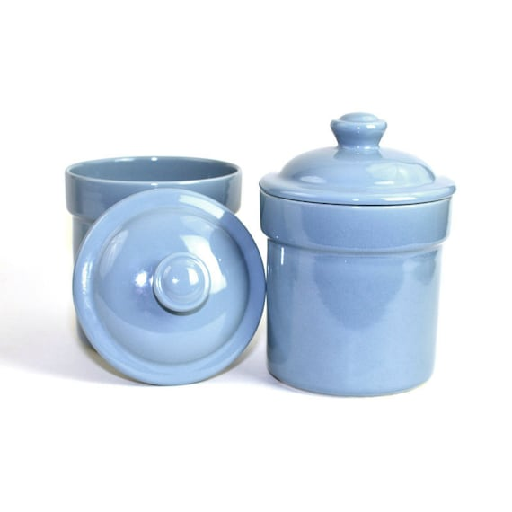 Blue kitchen canister set by treasure craft usa set of 2 - Blue glass kitchen canisters ...