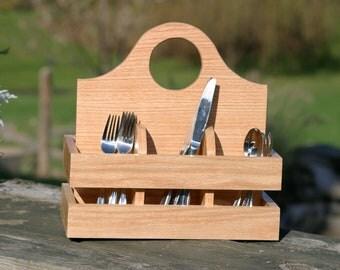 Wood utensil holder plate and napkin caddy Oak