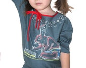 Girl Original Art blue grey long sleeve top, OOAK, Mayan numbers,  Rabbit theme