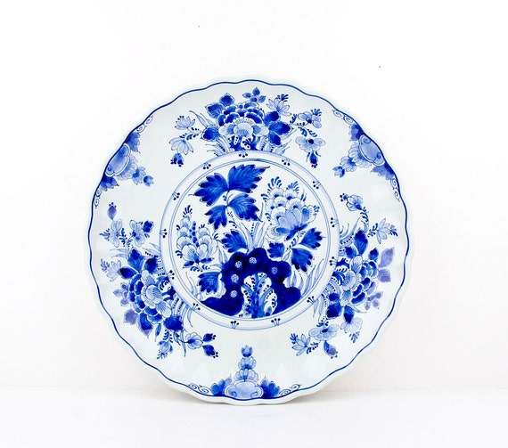 Blue Wall Plates: RESERVED FOR STEVE Delft Blue Wall Plate By CrystalBlueVintage