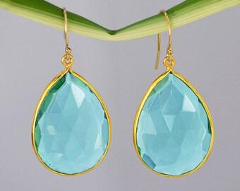 London blue topaz earrings - Gemstone earrings - Dangle earrings - Vermeil Gold or Sterling Silver - bezel set Earrings, December Birthstone