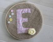 Burlap Monogram Embroidery Ring