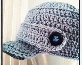 Children's Crochet Newsboy Hat with Buttons
