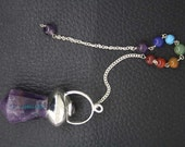 New Healing amethyst Faceted Pendulum With 7 Chakras Chain  ET A11/1