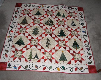 Christmas Tree Lap Quilt, Lap Quilt, Christmas Quilt, Quilts, Quilted Wall hanging, Sofa Quilt, Cottage Quilt, Christmas Decor, Home Decor