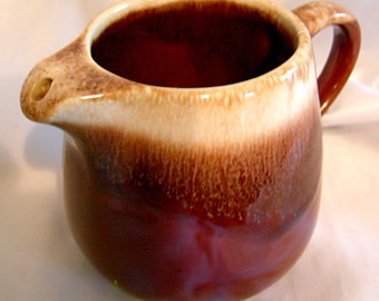 Brown and Beige Drip Glaze Creamer - Signed McCOY - Vintage