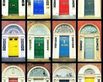 Door Photography. Dublin Doors Irish Doors. Georgian Doors. Photo Collage Colorful Print. Ireland. Wall Art Home Decor. Travel Photography