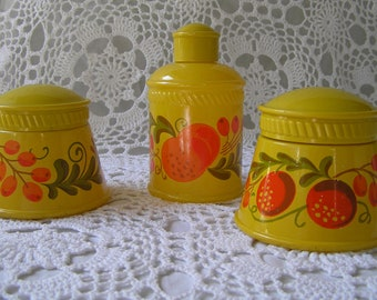 SALE Avon Pennsylvania Dutch Patchwork Decanters, Boho Floral Fruit 1970s Yellow & Orange
