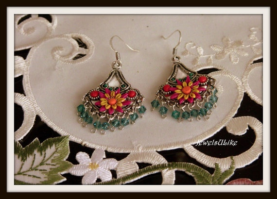 Swarovski crystals raindrops flower circus earrings RESERVED