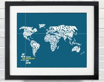 World Coordinate Personalized Wedding or Anniversary Gift, World Word Map, Date and Place, Bride and Groom, Any Location, Bridal Shower