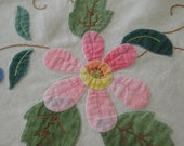 Vintage 1940's Linen Tablecloth and Napkins with Embroidery and Appliques