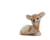 Baby Deer Figurine: Realistic Style - Fawn, Bambi, Spotted, Woodland Animal, Laying - Tan, Taupe, Beige, Khaki, White