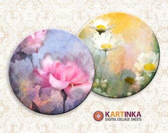 FLOWERS WATER COLORS - 2 inch Circles Digital Collage Sheet Printable image Pocket Mirrors Magnets Paper Weight Earrings