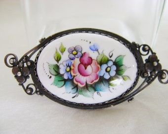 Vintage Sugared Brooch - 1990s Ceramic Floral Design