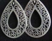 Silver and Black Teardrop Earrings