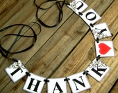 Wedding Decoration THANK YOU Cards mini Wedding Garland-Banner-Wedding Photo Booth Props-Photo Prop -- Black Antiquing