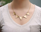 Gold leather bunting necklace