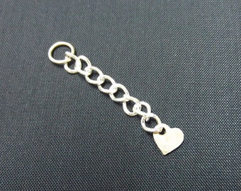 Sterling Silver 1 Inch Extender Chain with Cross/Drop/Heart Shaped End