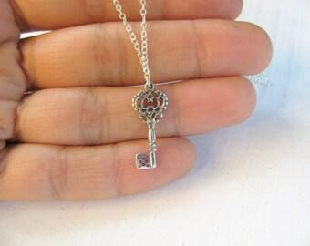 Key necklace, silver key necklace, key to my heart, everyday necklace, simple silver necklace, key jewelry