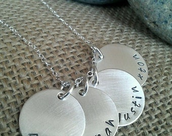 Personalized Name Necklace, 4-Charm Kids Name Necklace - Custom Family Necklace - Mom Necklace - Stamped Evermore