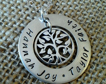 Tree of Life Necklace, Mom Necklace with Kids Names, Grandma Necklace, Kids Names Necklace, Sterling Silver, Stamped Evermore