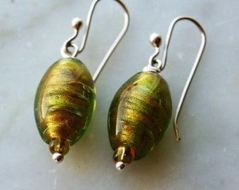 sterling earrings with Vintage Venetian green & gold glass beads- handmade sterling  french earwires-Pantone Color 2017-Greenery