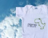 Hand Embroidered Dinosaur Onesie - Rawr