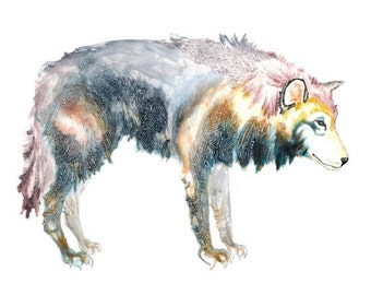 LARGE PRINT of wolf painting - wolf art - fairytale - in grey / black / dark blue / mauve / yellow ocher