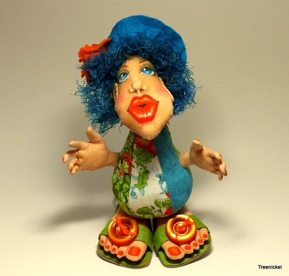 Cloth art doll fantasy pincushion