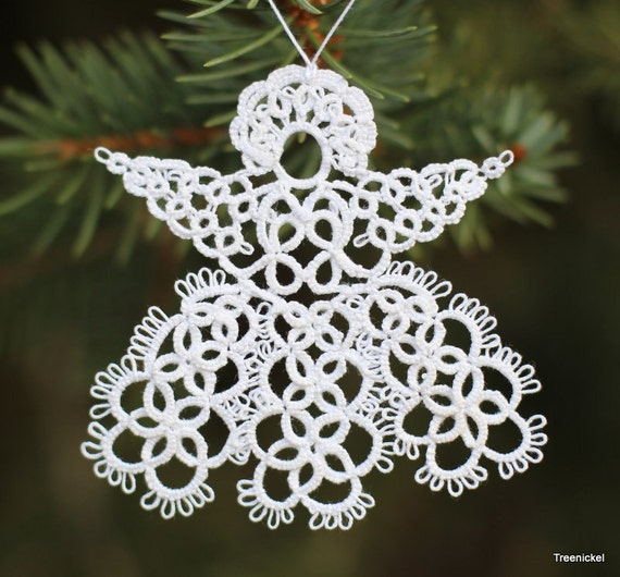 Crochet Angel Baptism Gift Christmas Lace Angel Ornament Tree: Items Similar To Angel Christmas Ornament Shuttle Tatting