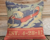 Personalized Anniversary Pillow, Burlap Feed Sack Pillow