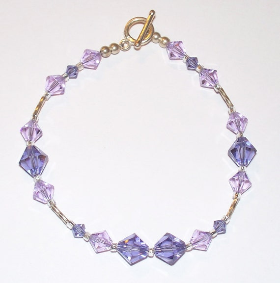 "Sterling Silver ""Lusty Lilac"" Beaded Bracelet with Shades Of Purple Swarovski Crystals"