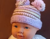 Very Cute Handmade Crochet Baby Hat with Pom Poms  (size 6 months) FREE SHIPPING - Priority Mail (2-3 Days)