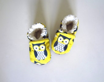 Ready for Winter Soft and Cute Owl Baby shoes in Pear Yellow