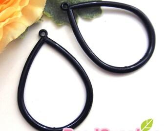 CH-ME-01285- Nickel Free , black enameled, Big teardrop charm, 4 pcs