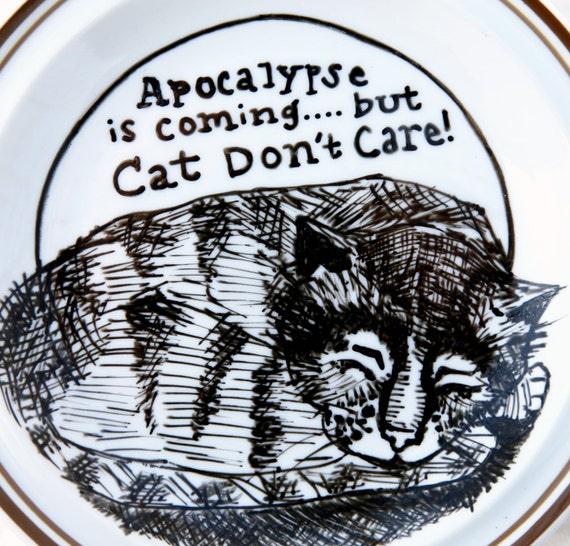 "Painted Vintage Plate ""Apocalypse Cat"""