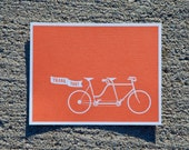 Tandem Bicycle Wedding Thank You Postcard